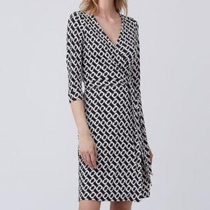 Diane von Furstenberg Black Chain Link Wrap Dress
